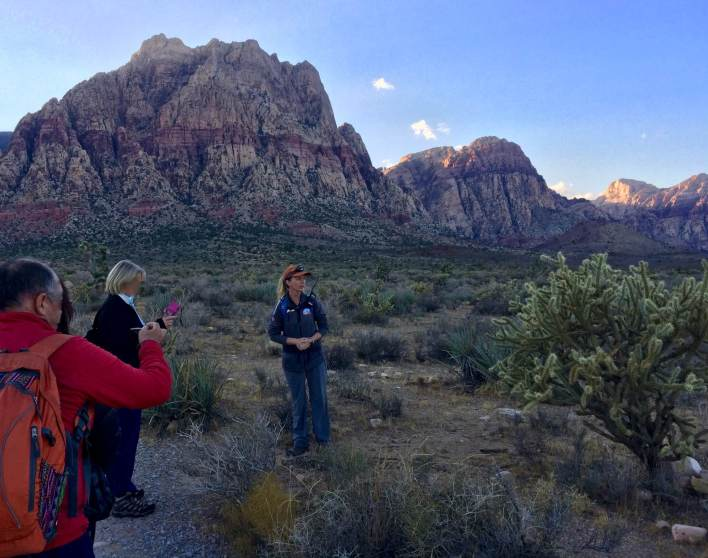 Hiking in the dusk with the Southern Nevada Conservancy and visitors from around the globe. (Lauren Danner photo)