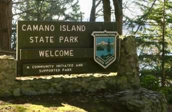 Camano Island State Park sign (Lauren Danner photo)