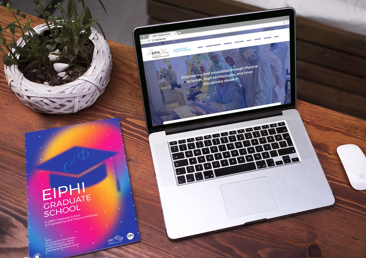 Mockup : flyer EIPHI + macbook avec le site EIPHI
