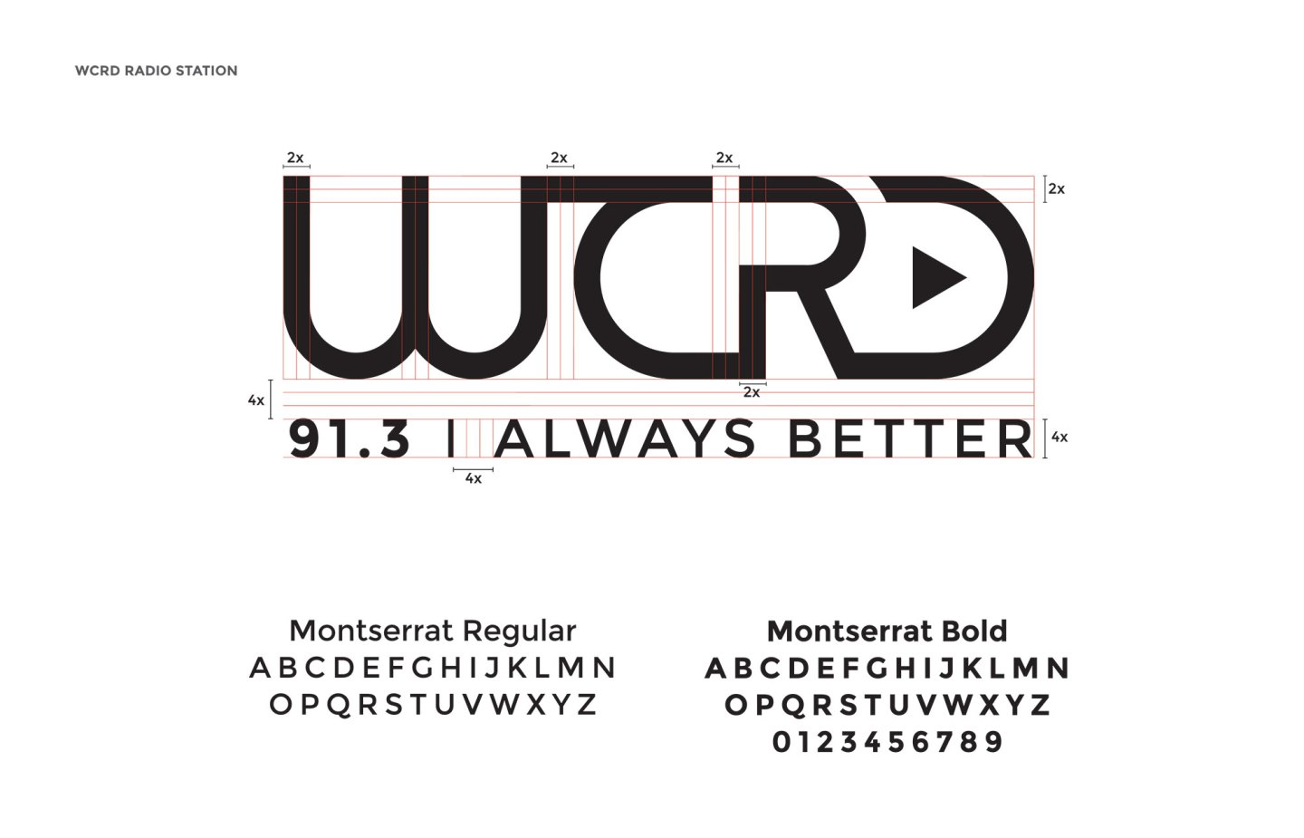 The architecture and typography of the WCRD identity design