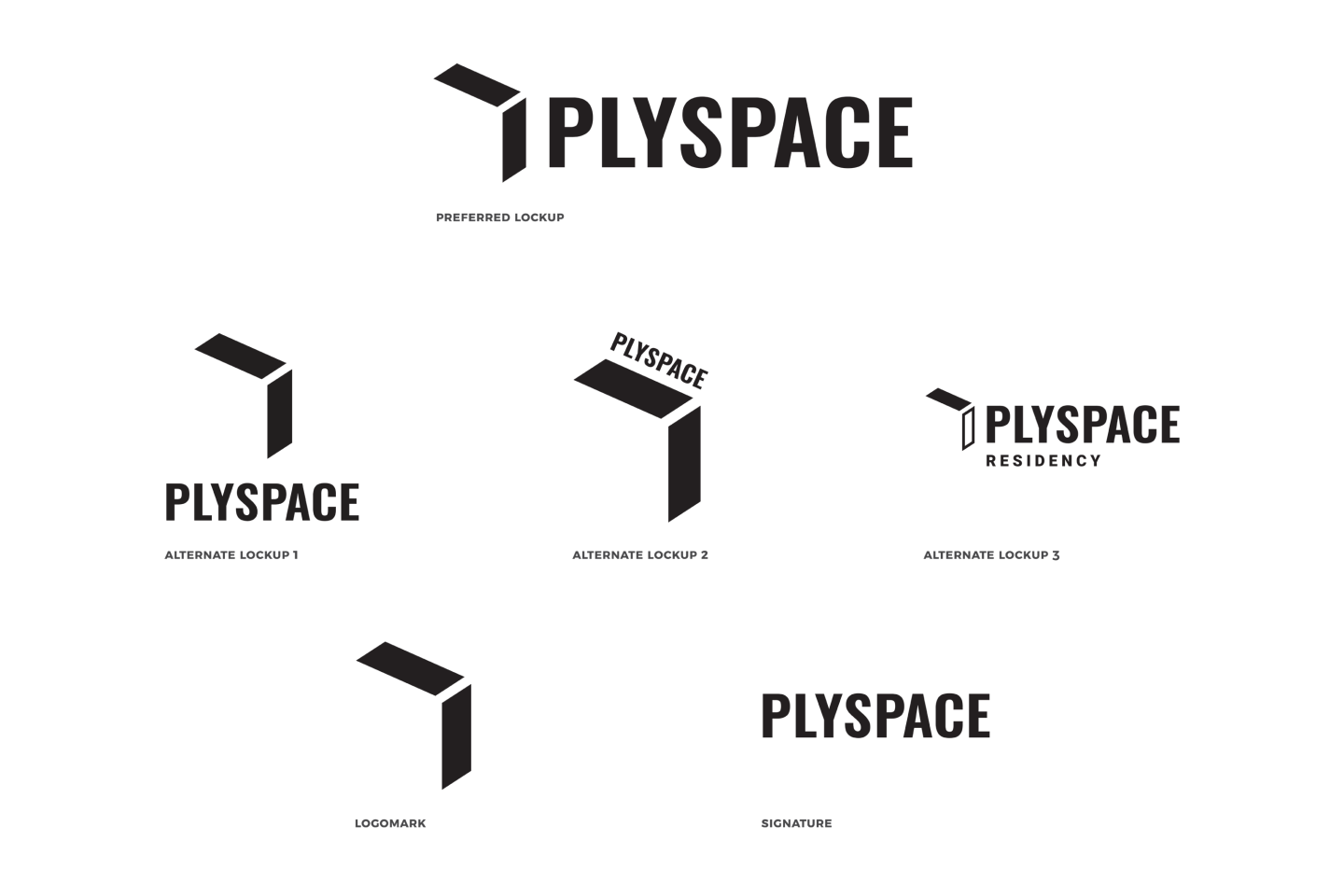 The black logo lockups for the PlySpace design system