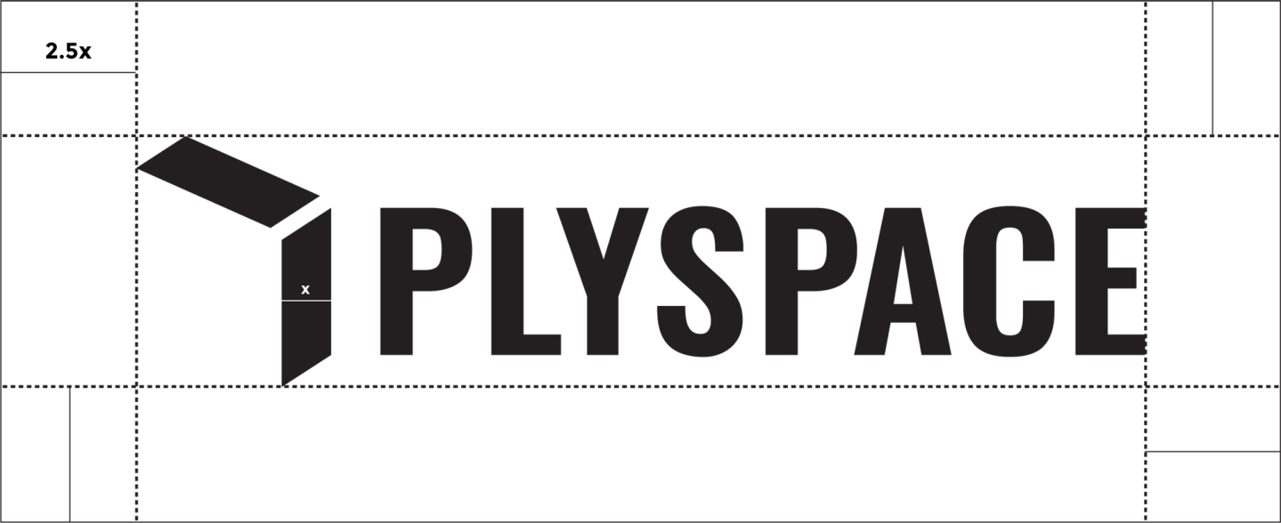 The primary logo lockup with clear space for the PlySpace design system