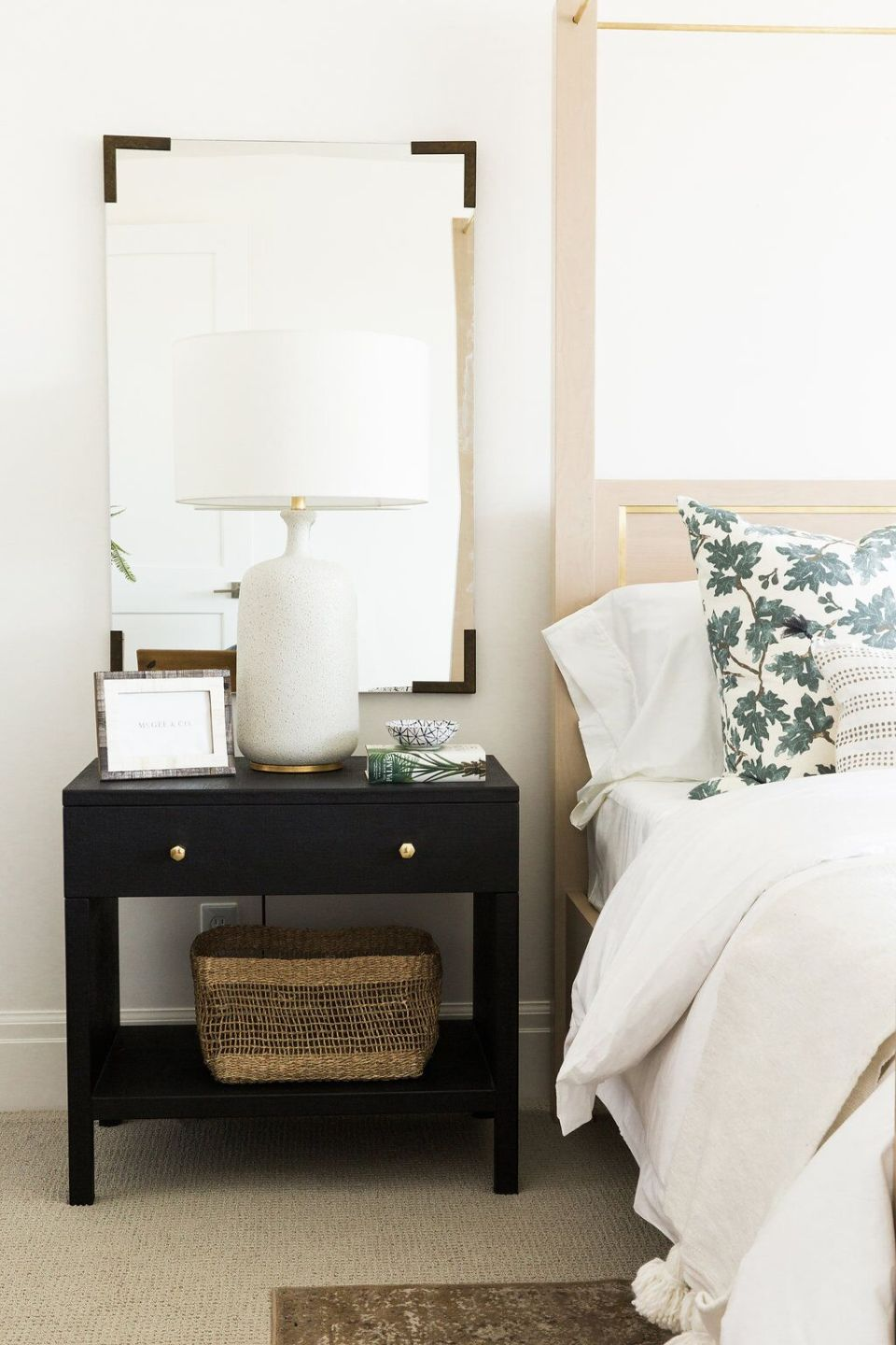 Bedside table styling and de-cluttering spring cleaning