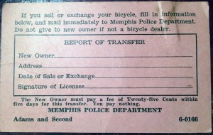 back of bicycle license