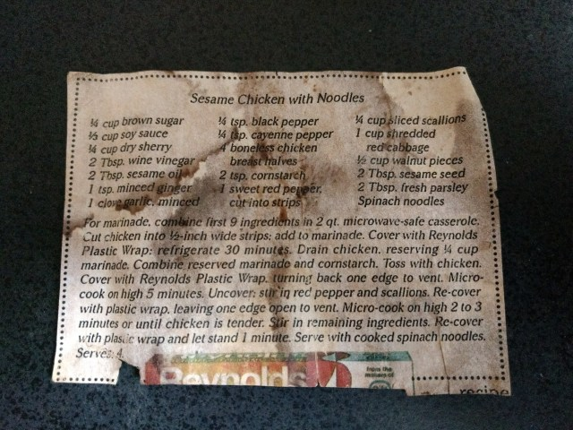 recipe for Sesame Chicken with Noodles clipped from magazine, damaged by liquid