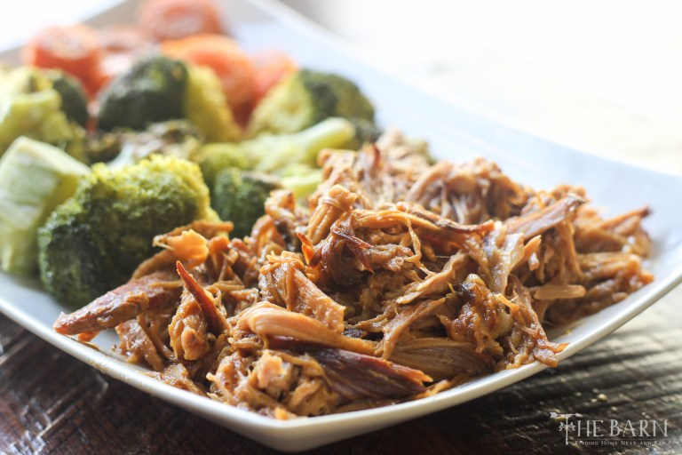 Two Ingredient Slow Cooker BBQ Pork & Roasted Curried Carrots