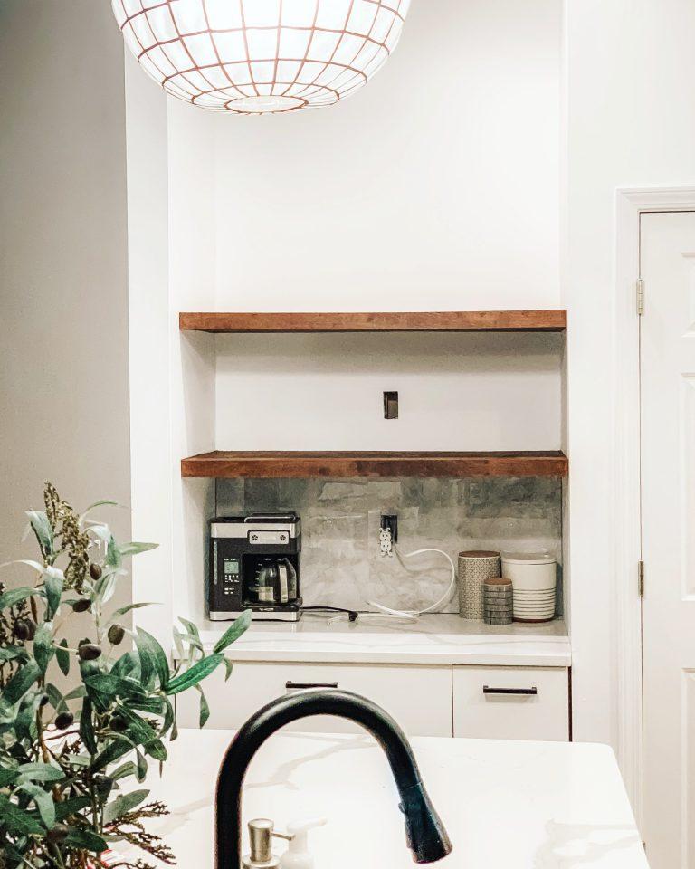 DIY Floating Shelves For Our Microwave Nook