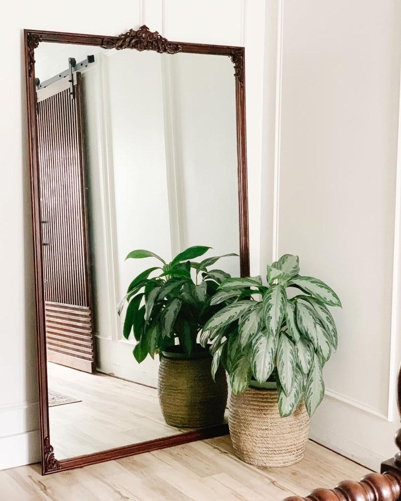 DIY Anthropologie Inspired Floor Mirror using old bathroom vanity mirror
