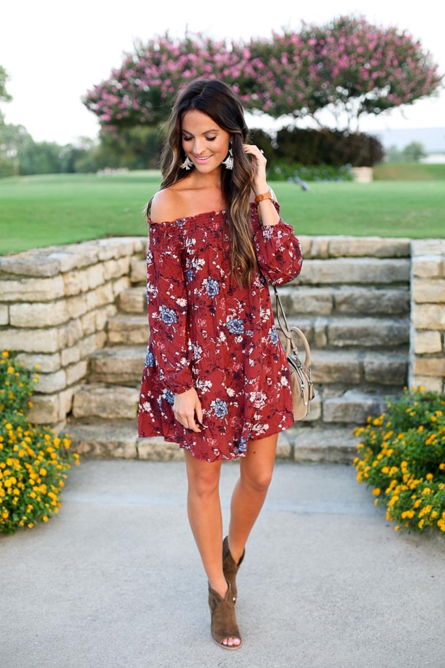 floral off the shoulder dress under 50  Lauren Kay Sims
