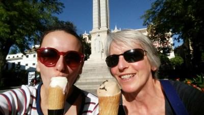 Ice cream in Plaza de Triunfo.