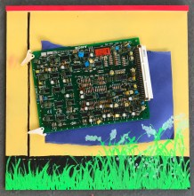 'Circuit Board #4' - Mixed Media on Plywood
