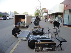 Setting up on the street in Kelowna, BC.