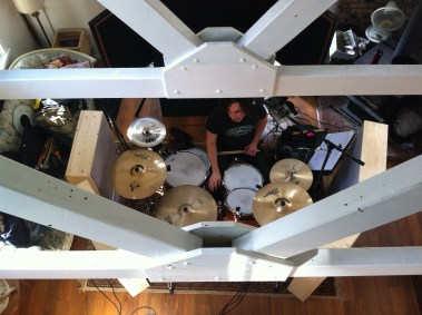 Recording drums in the living room...not an uncommon sight!