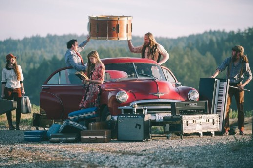 Promo photo taken on Pender Island, BC (before we had any idea we'd end up living there) with Kyle & Katie's awesome car.