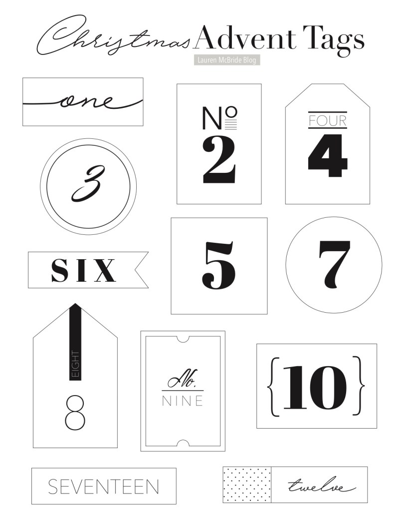 Connecticut life and style blogger Lauren McBride shares her Christmas Book Advent Calendar complete with free printable numbered Advent gift tags available for immediate download.
