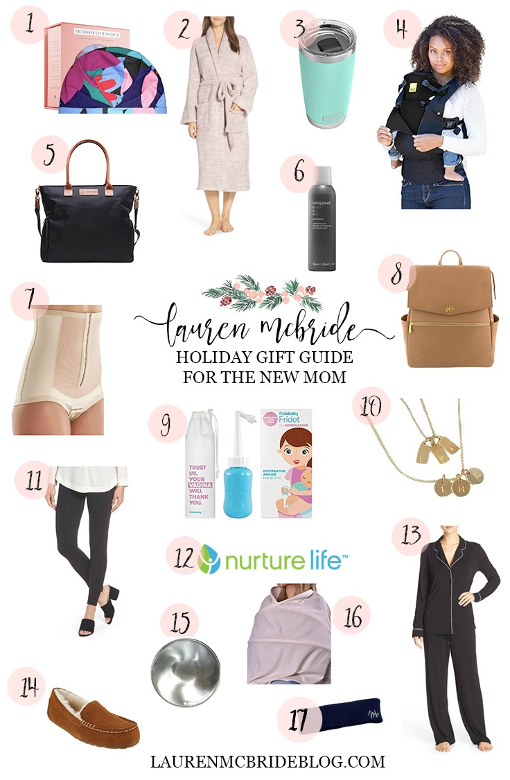 Connecticut life and style blogger Lauren McBride shares her holiday gift guide selections for new moms, including a variety of items and price ranges for new and expectant moms.