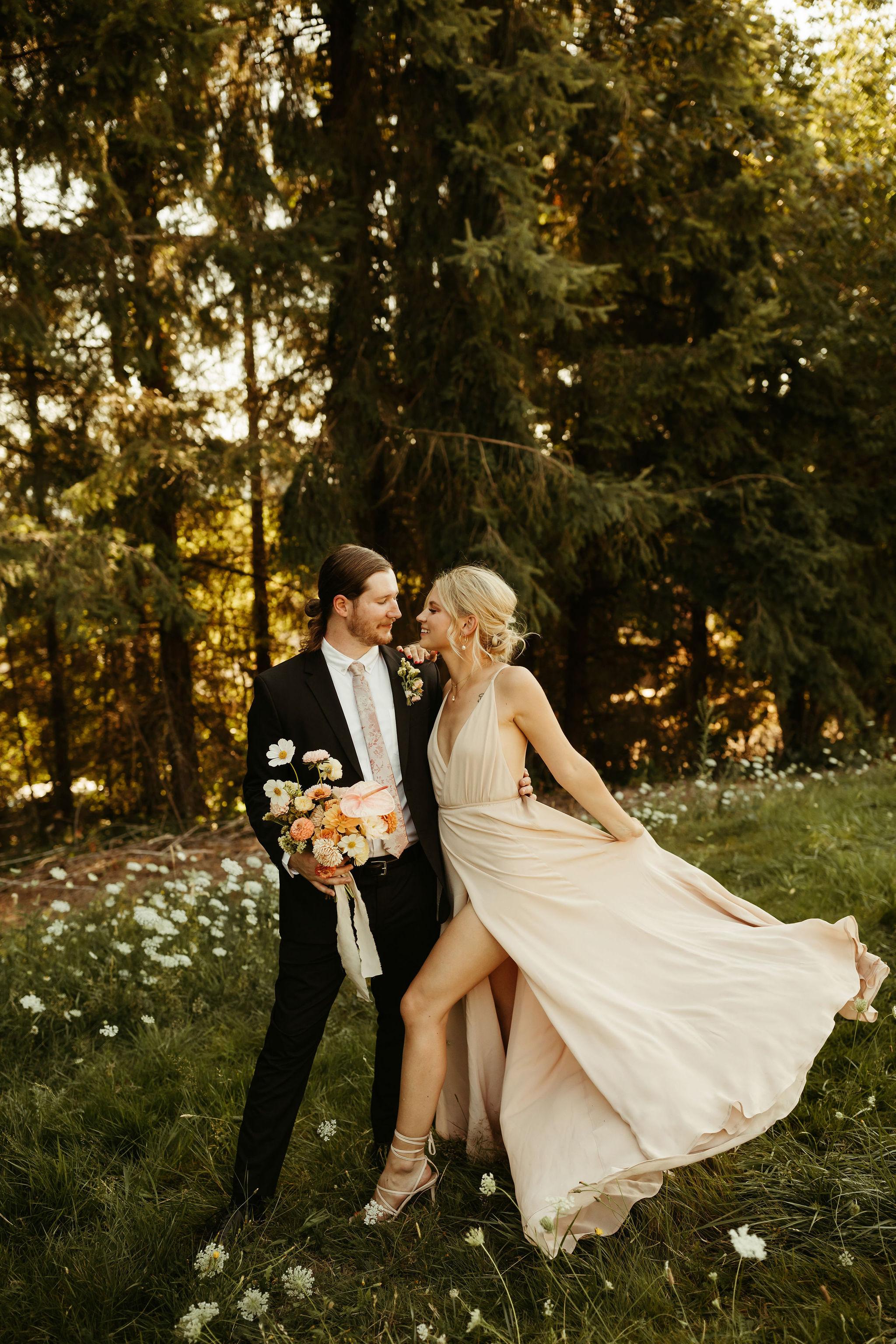 bride in nontraditional nonwhite wedding dress