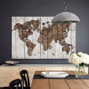 Map World Wooden