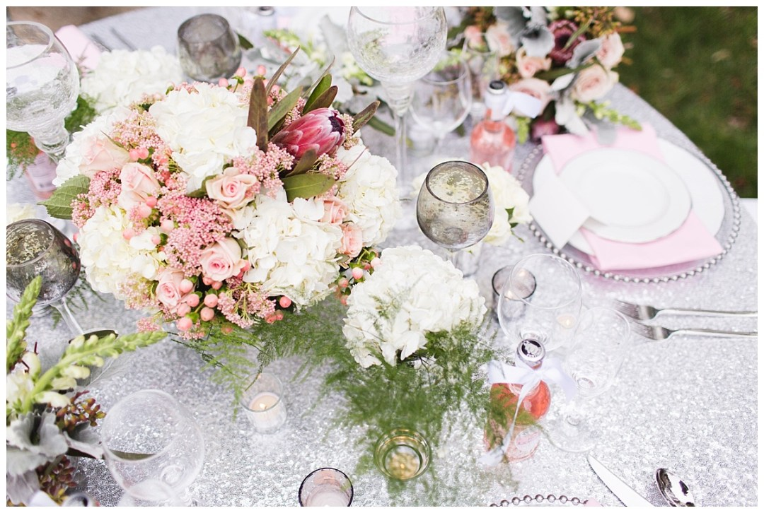pink and silver table hydrangeas
