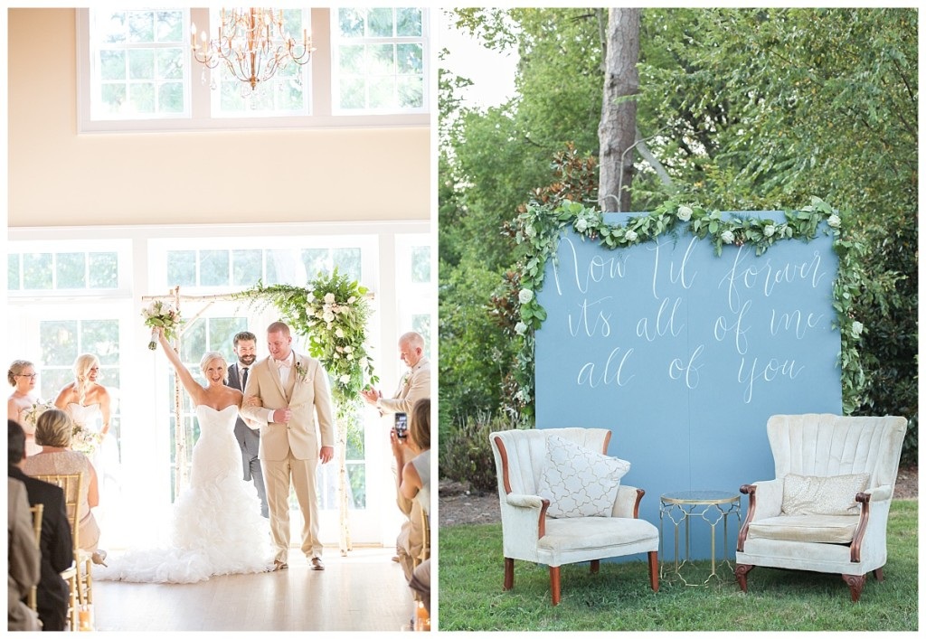 ceremony calligraphy backdrop styled seating area