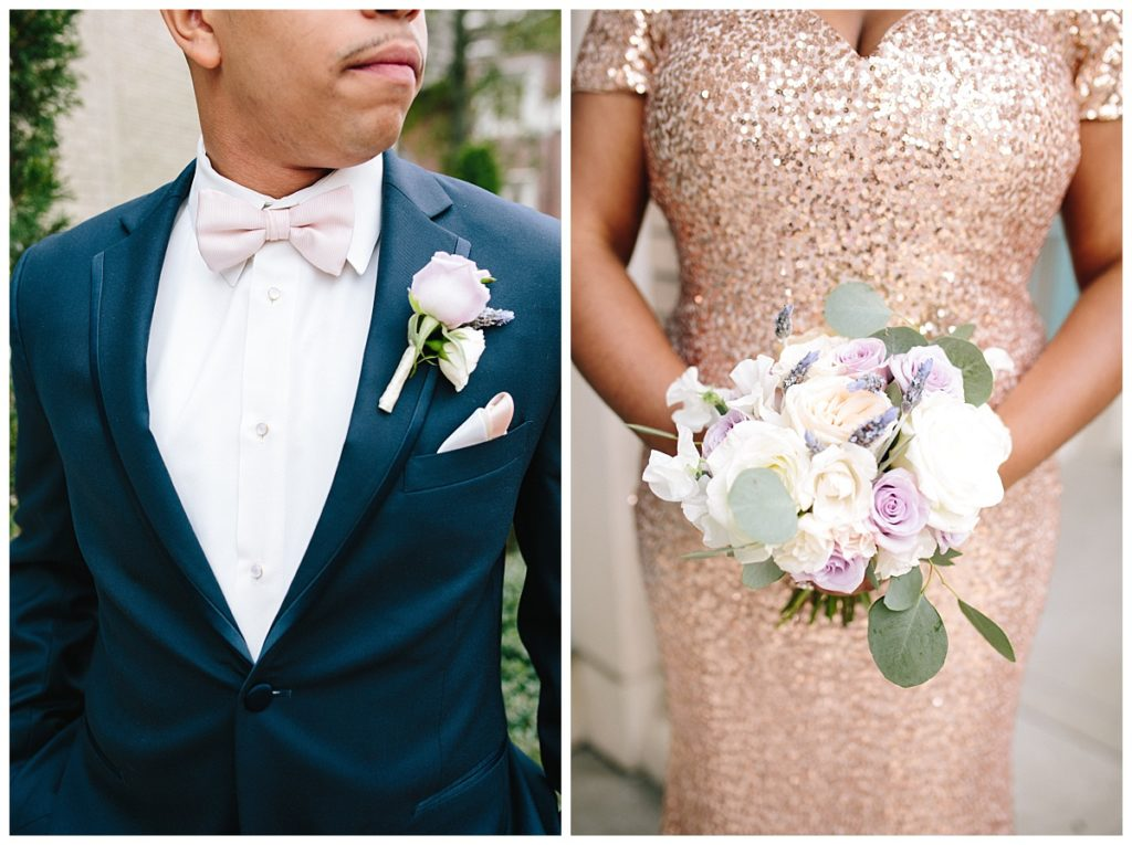 navy-suit-gold-bridesmaid-dress