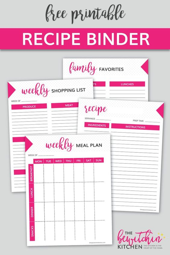 FREE RECIPE BINDER PRINTABLE DOWNLOAD