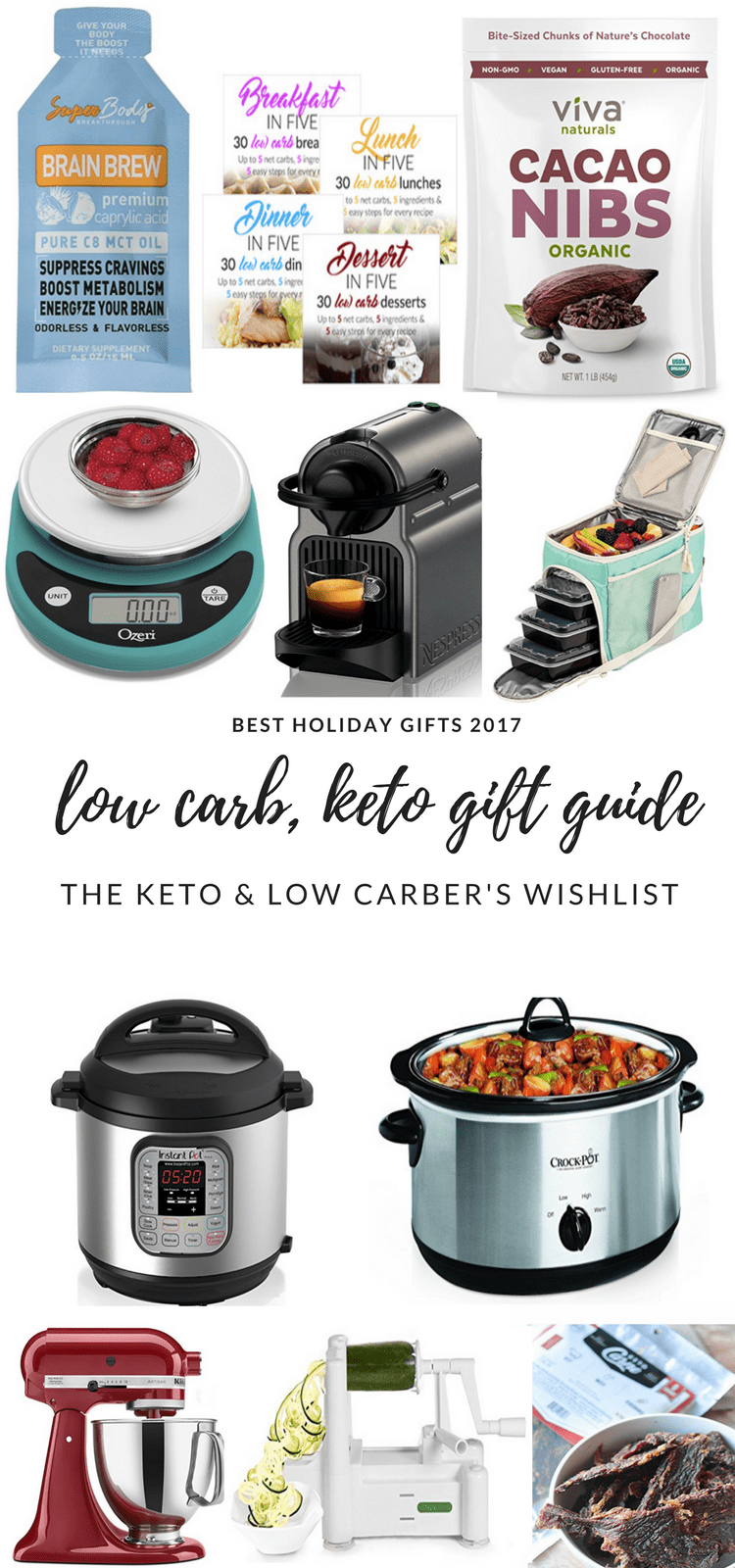 Low Carb Gift Guide #lowcarb #giftguide #giftguide2017 #keto #whole30 #paleo #lowcarbgiftguide #ketogiftguide