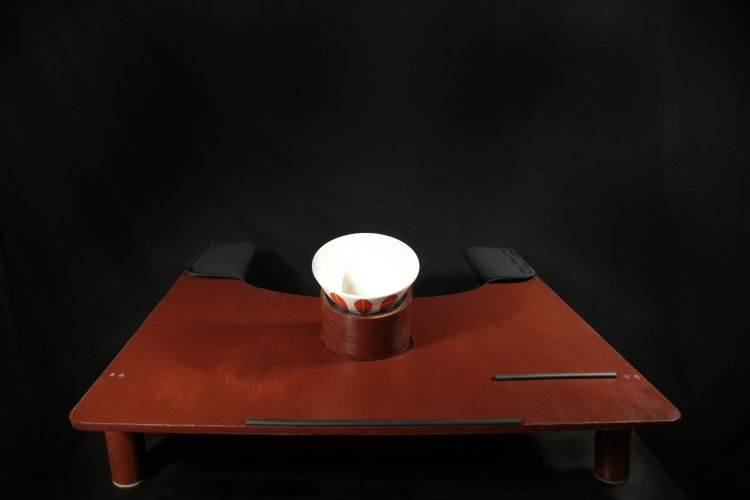 Assistive workstation displaying a bowl held by the bowl holder