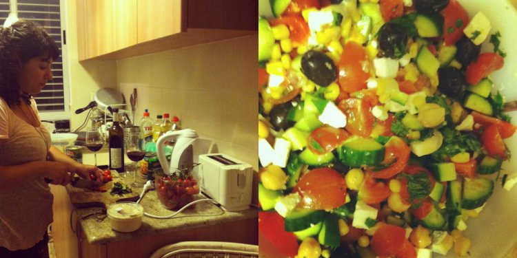 Side-by-side image of a woman cutting tomatoes and a close up of an Israeli chopped salad