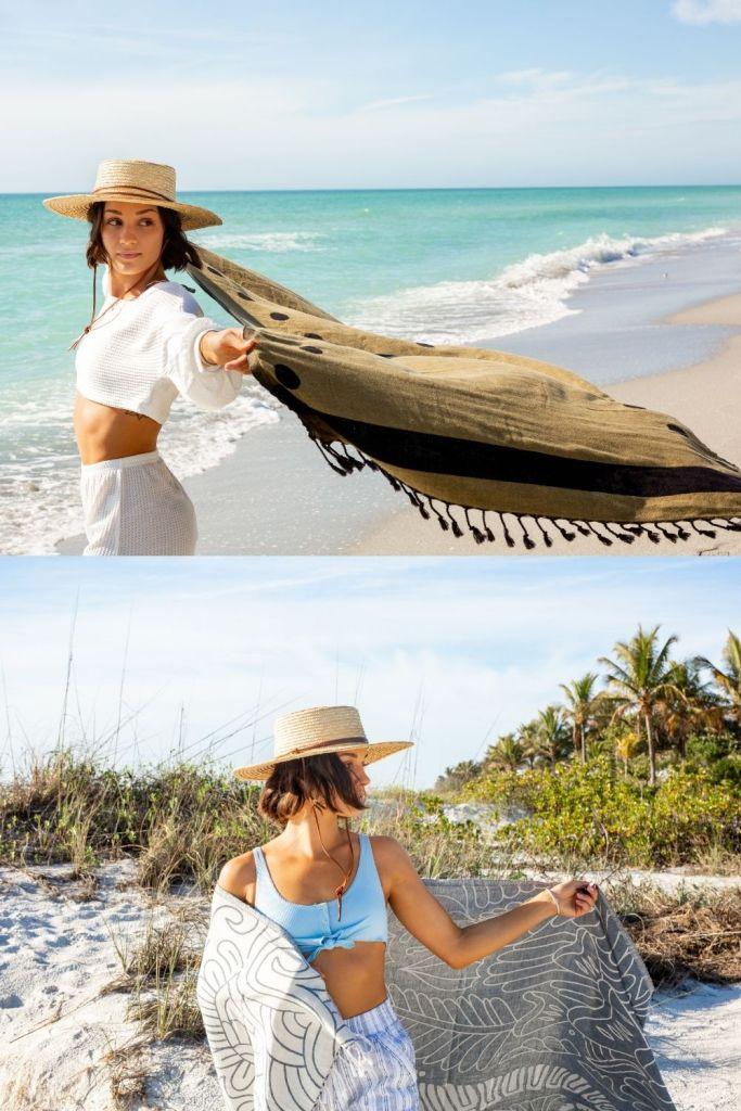 San Diego Hat Company Straw Hat Sand Cloud Boho XL Beach Towels Body Glove Blue Bikini