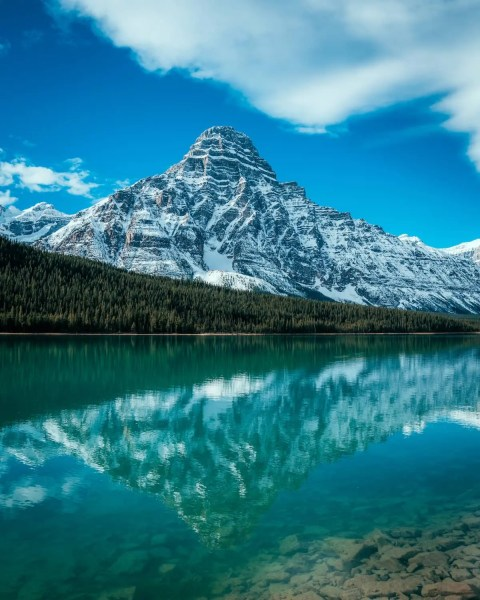 Waterfowl Lake, Icefields Parkway clear reflection