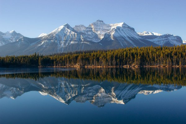 Herbert Lake, Alberta bright reflection