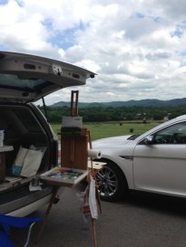 My set up on Day Three -- painting under the open hatch of my car trying to block some of the wind!
