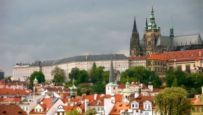 View of St. Vitus Cathedral and Prague Castle from the Charles Bridge.