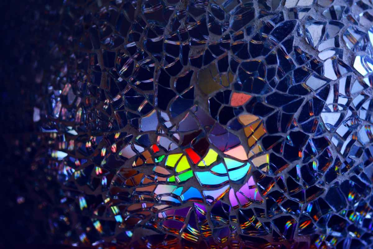 multicolored broken mirror decor