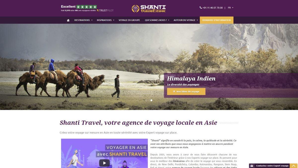 Shanti Travel Homepage