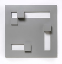 Peter Lowe, Volume and Void, 1975, wood painted grey, 49 x 49 x 8 cm