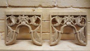 Westminster Abbey choir school pipe organ carvings by Laurent Robert woodcarver, carved tower pipe shades