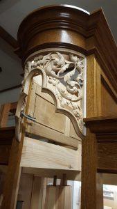 Westminster Abbey choir school pipe organ carvings by Laurent Robert woodcarver, carved round tower