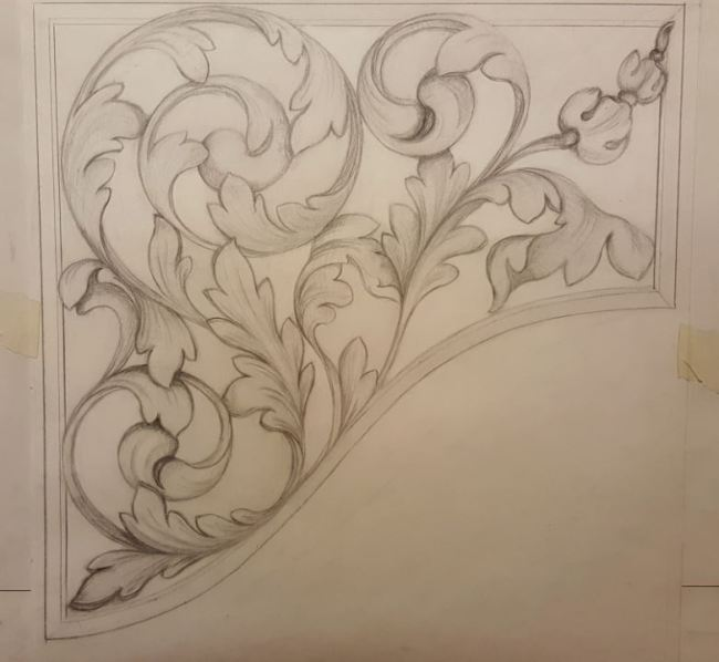 Westminster Abbey choir school pipe organ carvings by Laurent Robert woodcarver, drawing of pipe shades