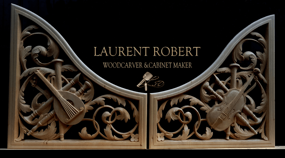 Banner, trophy carvings with Laurent Robert Woodcarver and Cabinet making written in between is situated a logo, mallet with gouge