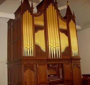George England pipe organ 1760 in Dulwich, restoration, pipe organ after repairs, Laurent Robert woodcarving