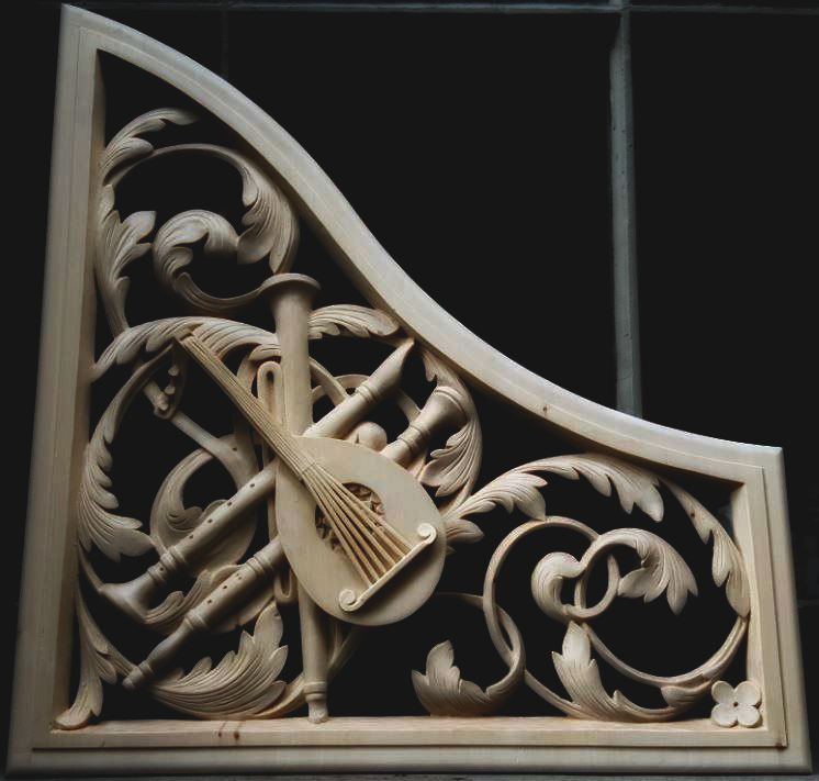 lime wood pipe organ carving in Concord, Massachusetts  by Laurent Robert Woodcarver