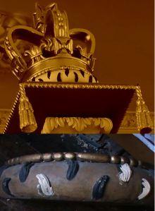 Richard Bridge organ case restoration, by Laurent Robert Woodcarver, crown with ermine and tassels