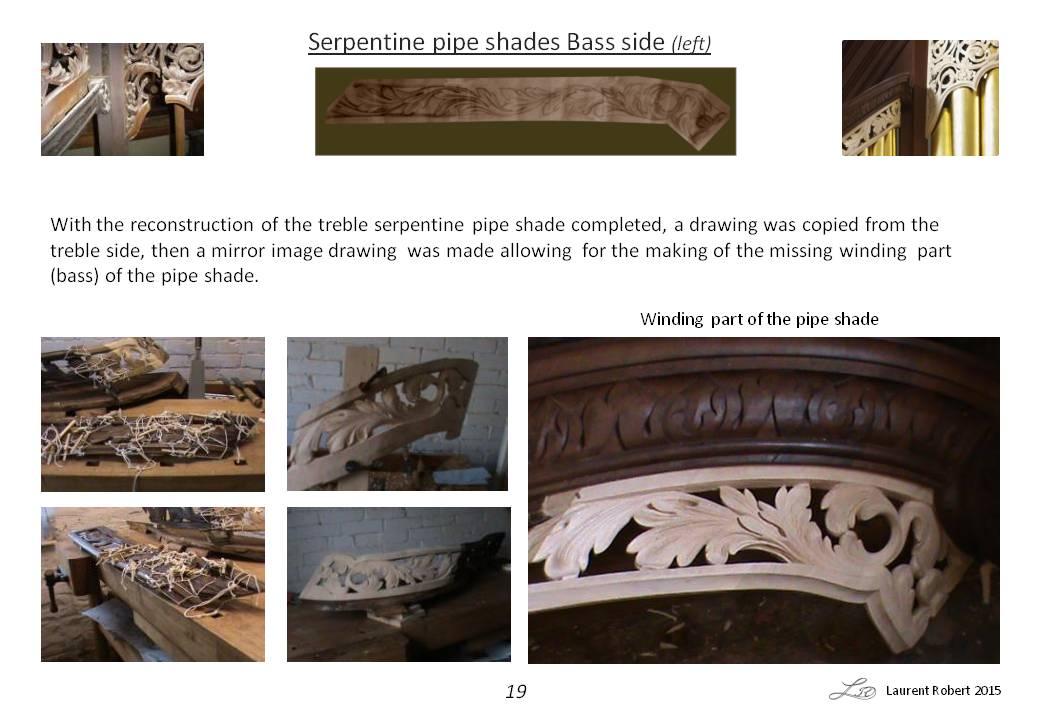 Richard Bridge pipe organ 1735, restoration carvings, serpentine pipe shade repairs, Laurent Robert woodcarver