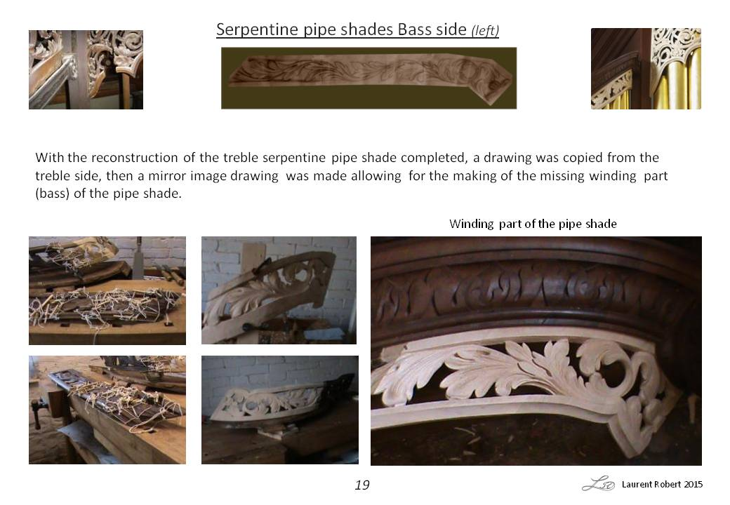 Richard Bridge pipe organ 1735, restoration carvings, serpentine pipe shade repairs, Laurent Robert woodcarver