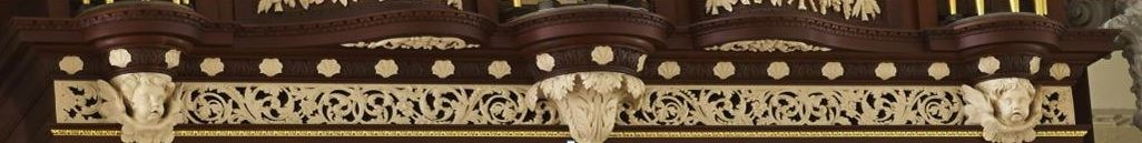 Richard Bridge pipe organ 1735, restoration carvings, frieze work after repairs, Laurent Robert woodcarving