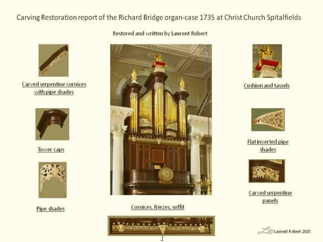 Richard Bridge organ case restoration by Laurent Robert Woodcarver
