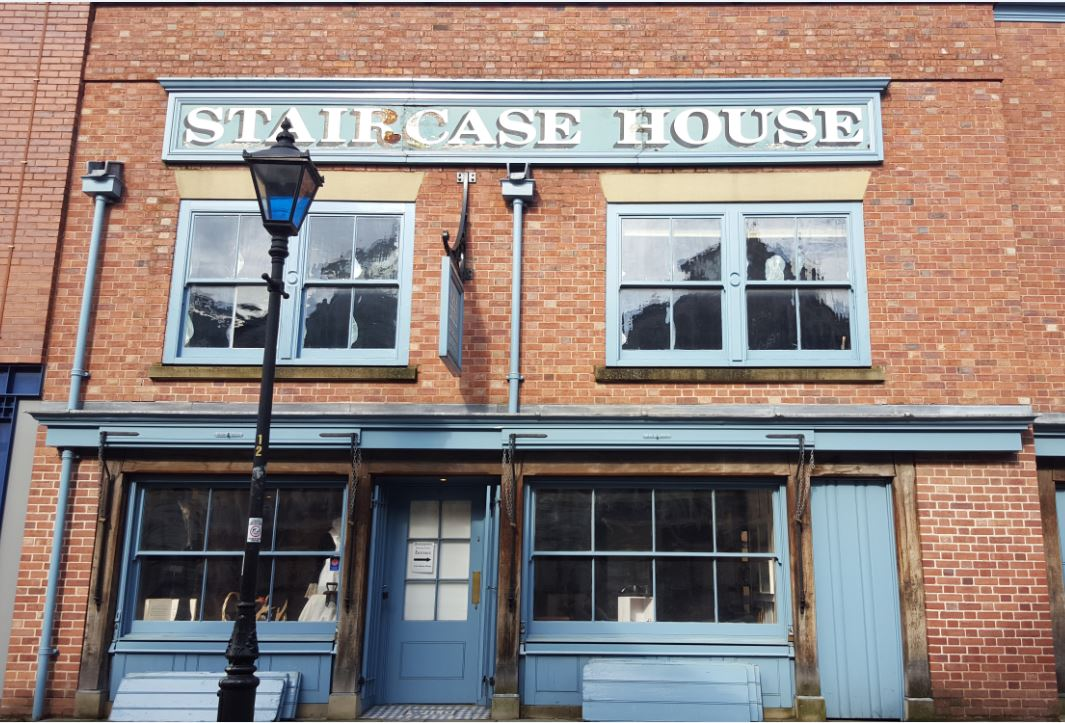 Staircase house in Stockport 17 th century reconstruction, Laurent Robert Woodcarver, building front