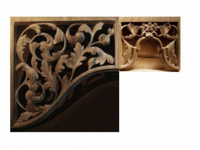 Westminster Abbey choir school pipe organ carvings by Laurent Robert woodcarver, carved tower and flat
